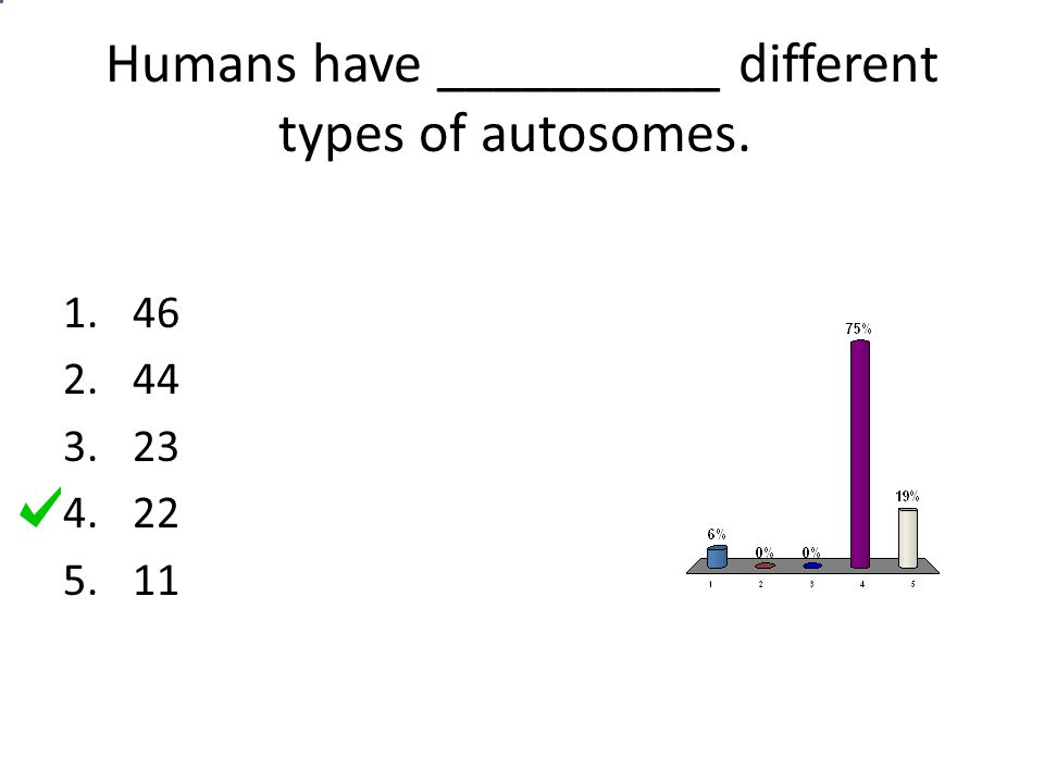 Humans have __________ different types of autosomes.