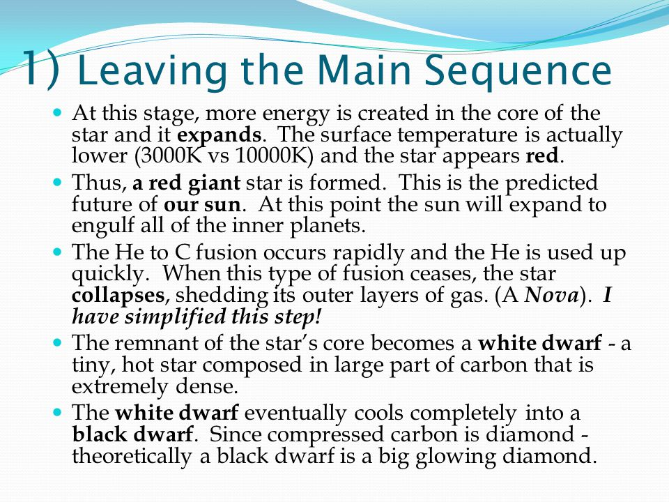 1) Leaving the Main Sequence