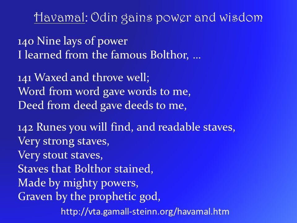 Havamal: Odin gains power and wisdom