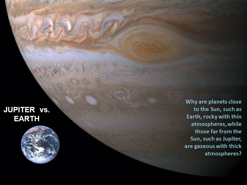 Why are planets close to the Sun, such as Earth, rocky with thin atmospheres, while those far from the Sun, such as Jupiter, are gaseous with thick atmospheres