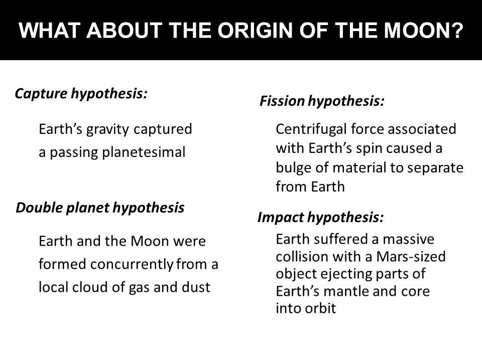 WHAT ABOUT THE ORIGIN OF THE MOON
