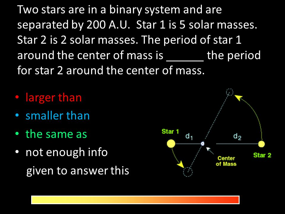 Two stars are in a binary system and are separated by 200 A. U