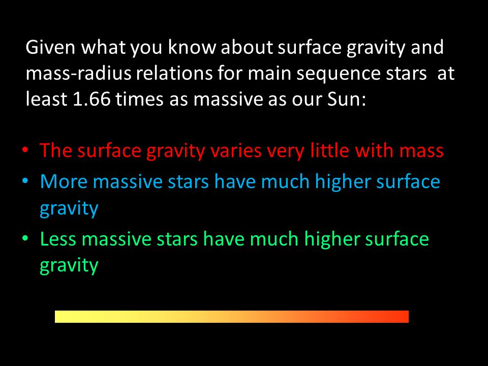 Given what you know about surface gravity and mass-radius relations for main sequence stars at least 1.66 times as massive as our Sun: