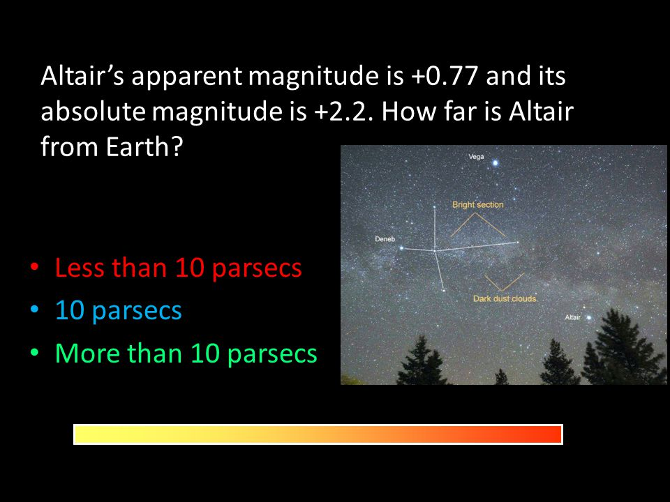 Altair's apparent magnitude is +0. 77 and its absolute magnitude is +2