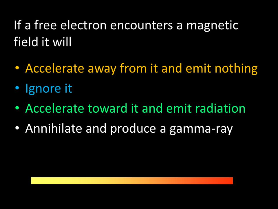 If a free electron encounters a magnetic field it will
