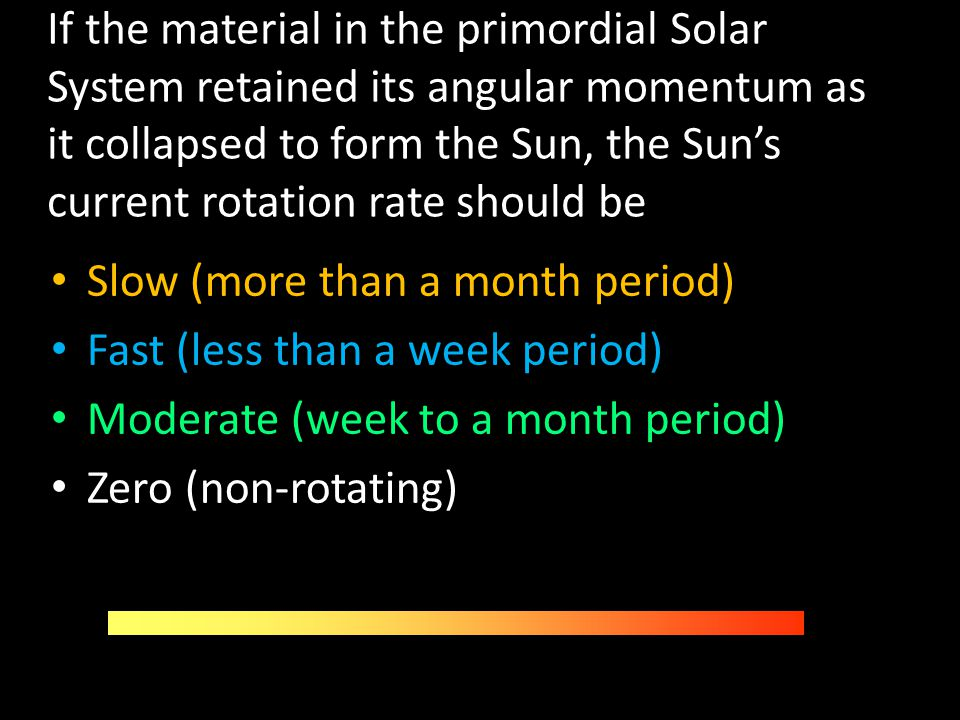 If the material in the primordial Solar System retained its angular momentum as it collapsed to form the Sun, the Sun's current rotation rate should be