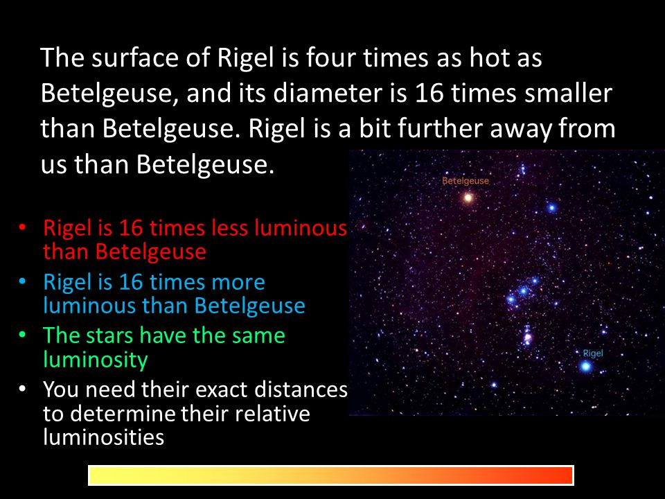 The surface of Rigel is four times as hot as Betelgeuse, and its diameter is 16 times smaller than Betelgeuse. Rigel is a bit further away from us than Betelgeuse.
