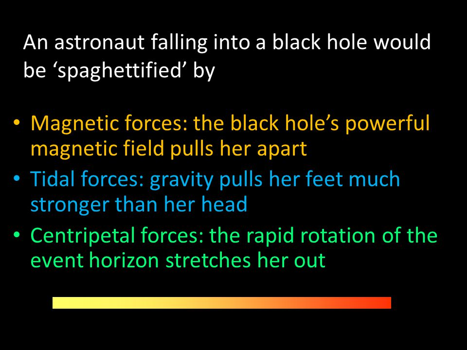 An astronaut falling into a black hole would be 'spaghettified' by