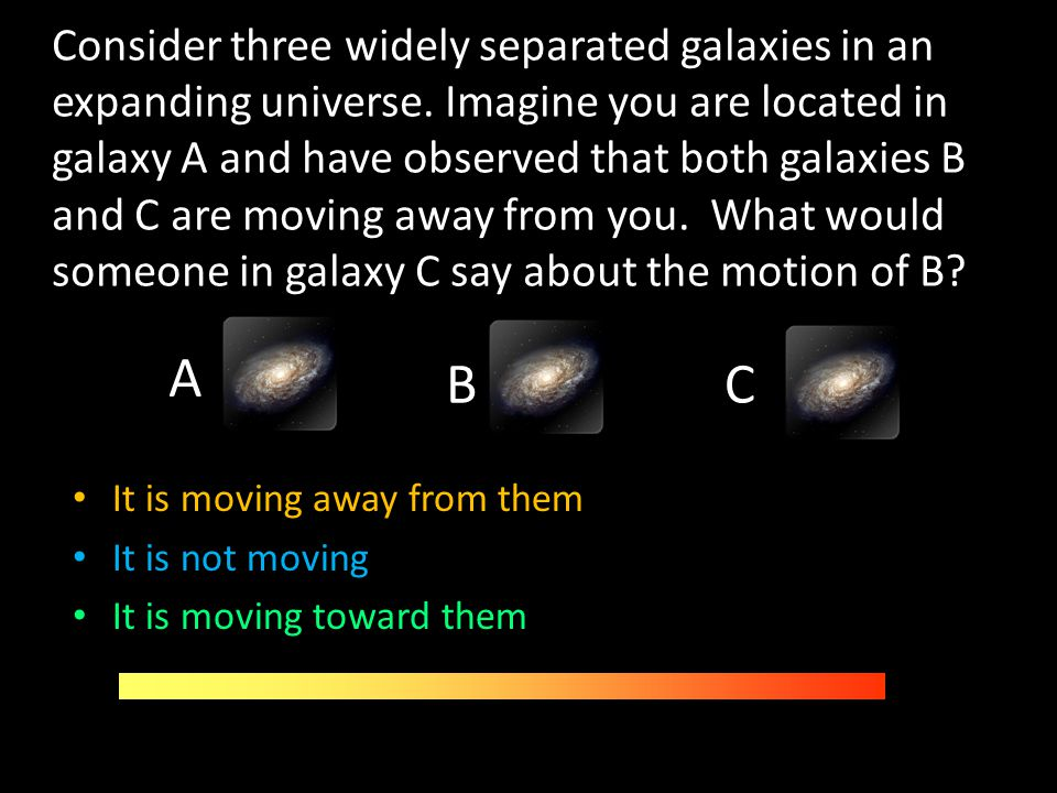 Consider three widely separated galaxies in an expanding universe