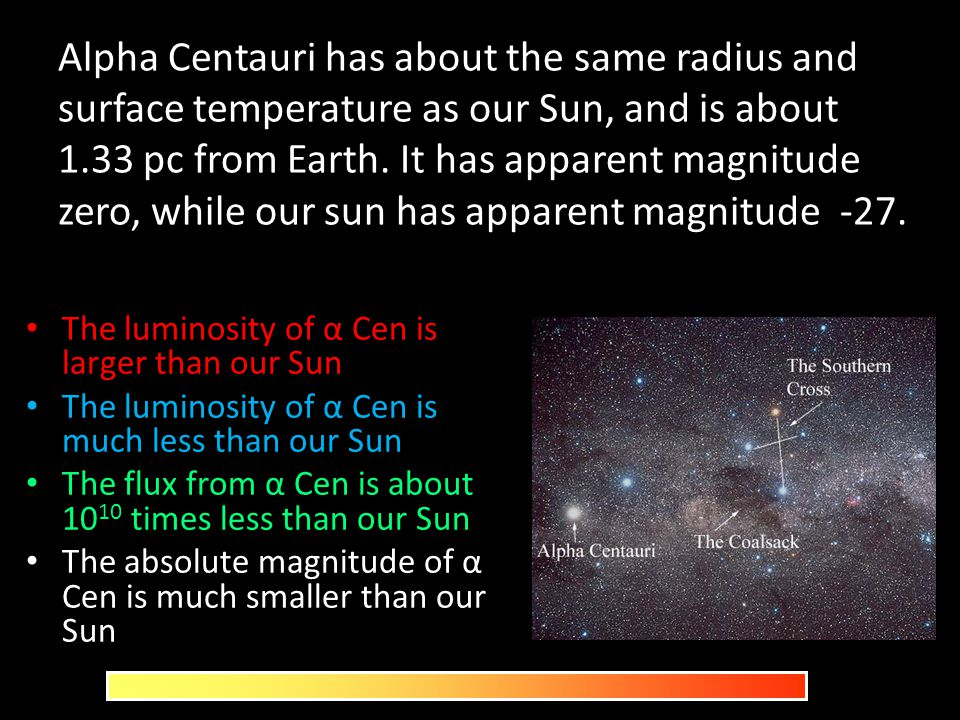Alpha Centauri has about the same radius and surface temperature as our Sun, and is about 1.33 pc from Earth. It has apparent magnitude zero, while our sun has apparent magnitude -27.