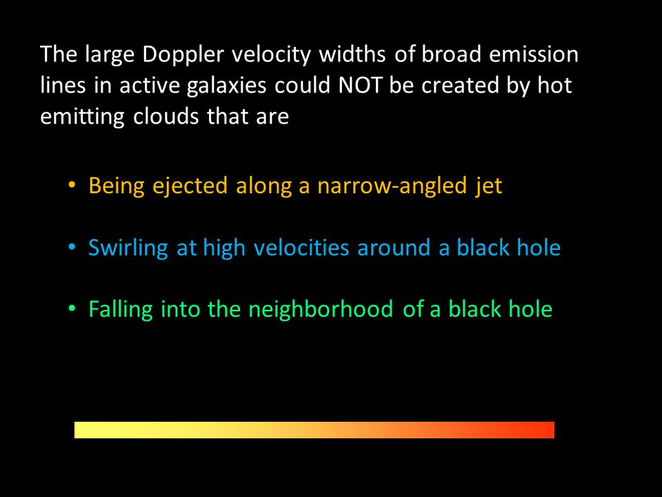 The large Doppler velocity widths of broad emission lines in active galaxies could NOT be created by hot emitting clouds that are