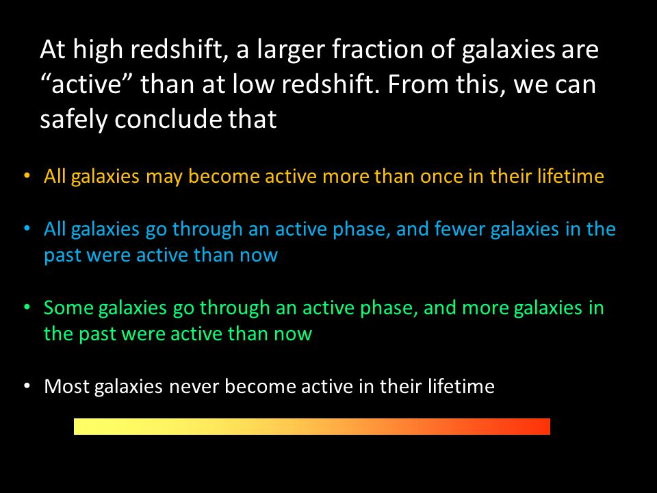 At high redshift, a larger fraction of galaxies are active than at low redshift. From this, we can safely conclude that