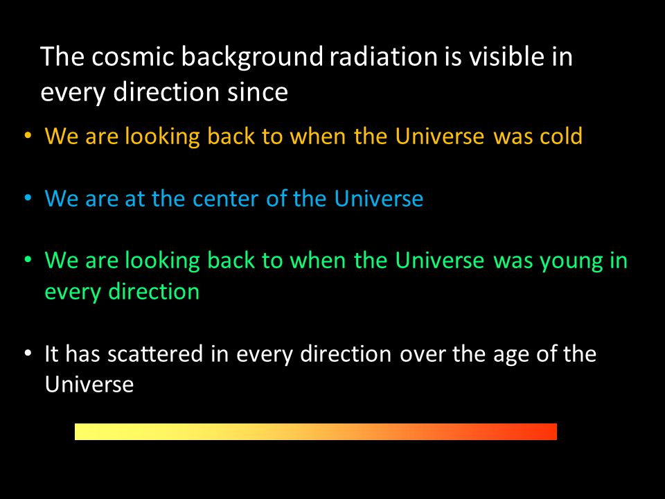 The cosmic background radiation is visible in every direction since
