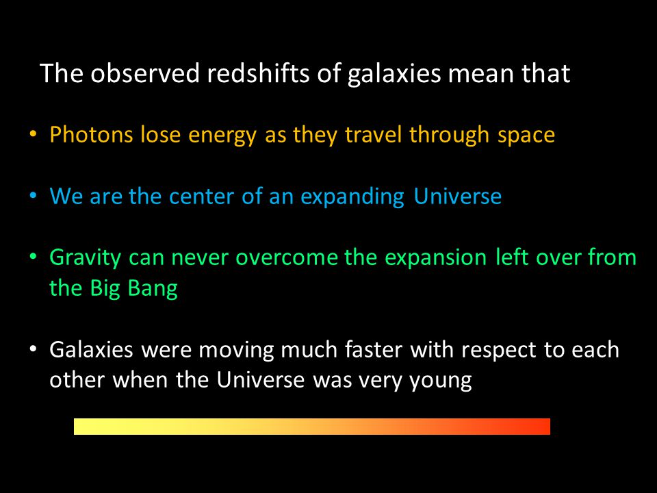 The observed redshifts of galaxies mean that