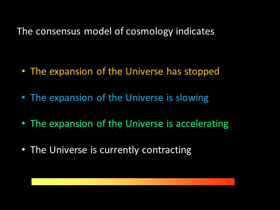 The consensus model of cosmology indicates