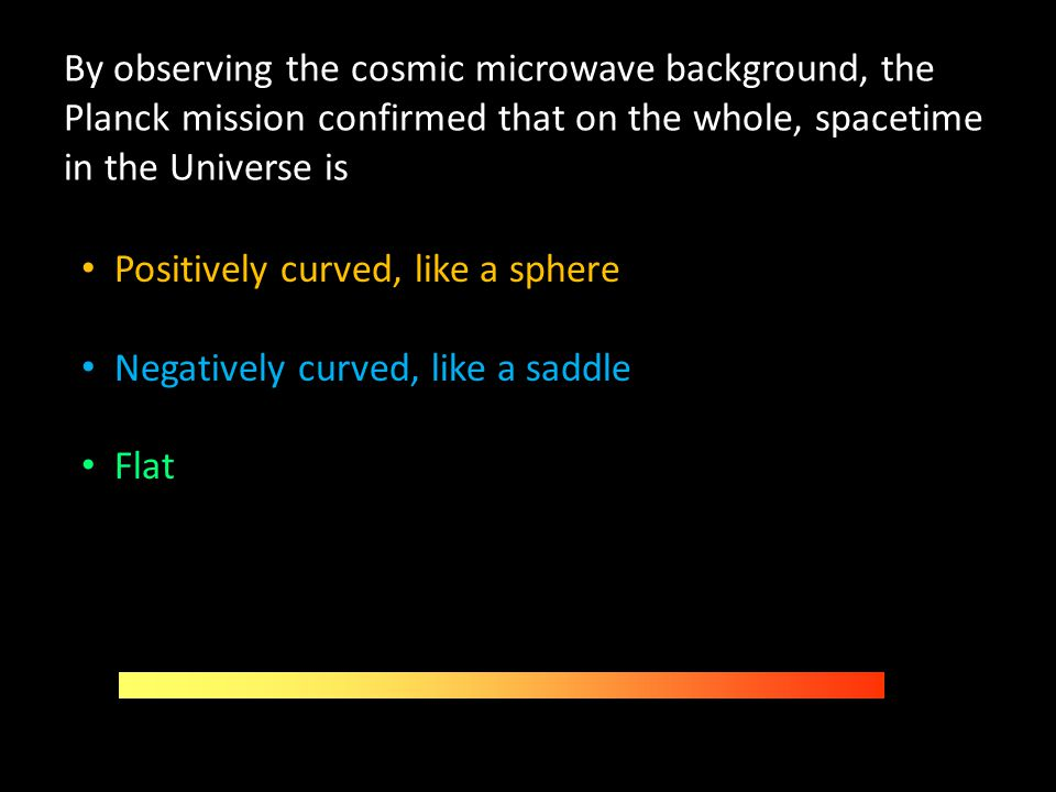 By observing the cosmic microwave background, the Planck mission confirmed that on the whole, spacetime in the Universe is