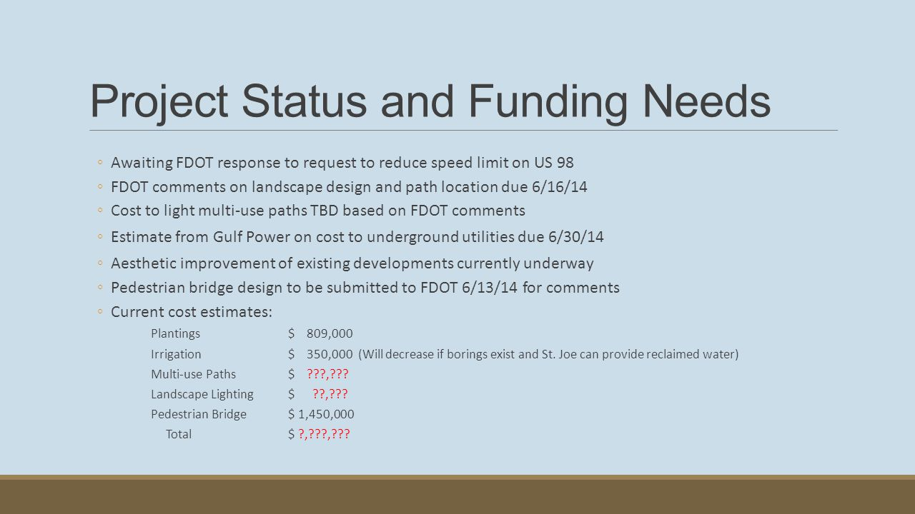 Project Status and Funding Needs