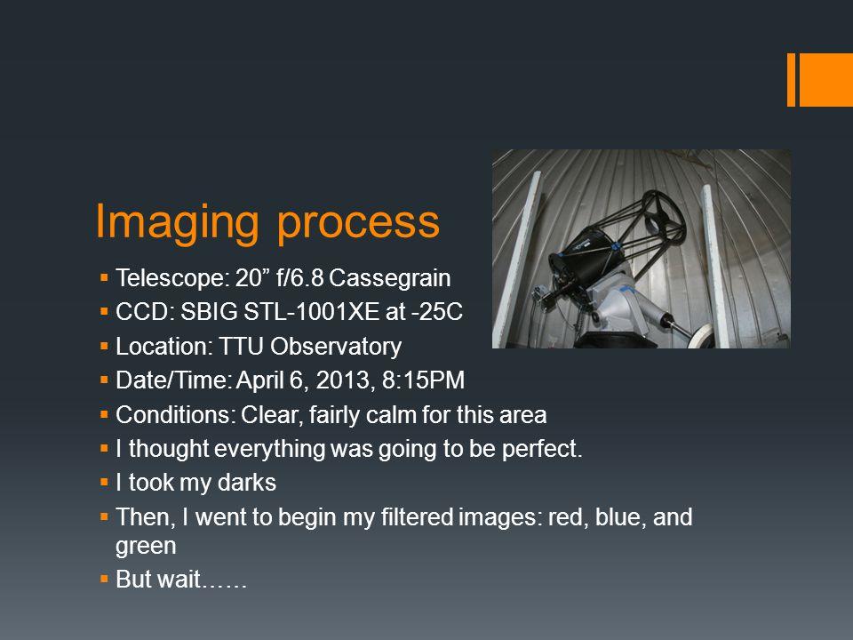 Imaging process Telescope: 20 f/6.8 Cassegrain