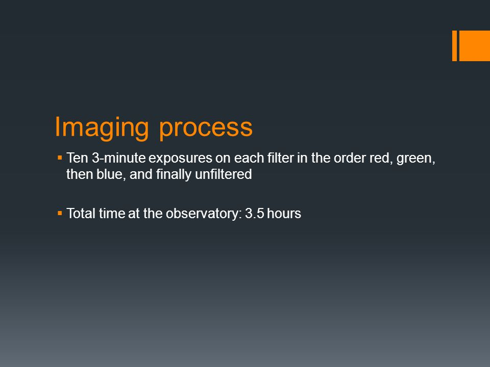 Imaging process Ten 3-minute exposures on each filter in the order red, green, then blue, and finally unfiltered.