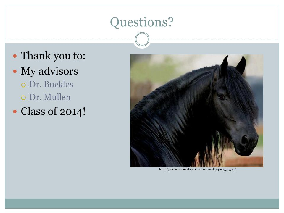 Questions Thank you to: My advisors Class of 2014! Dr. Buckles
