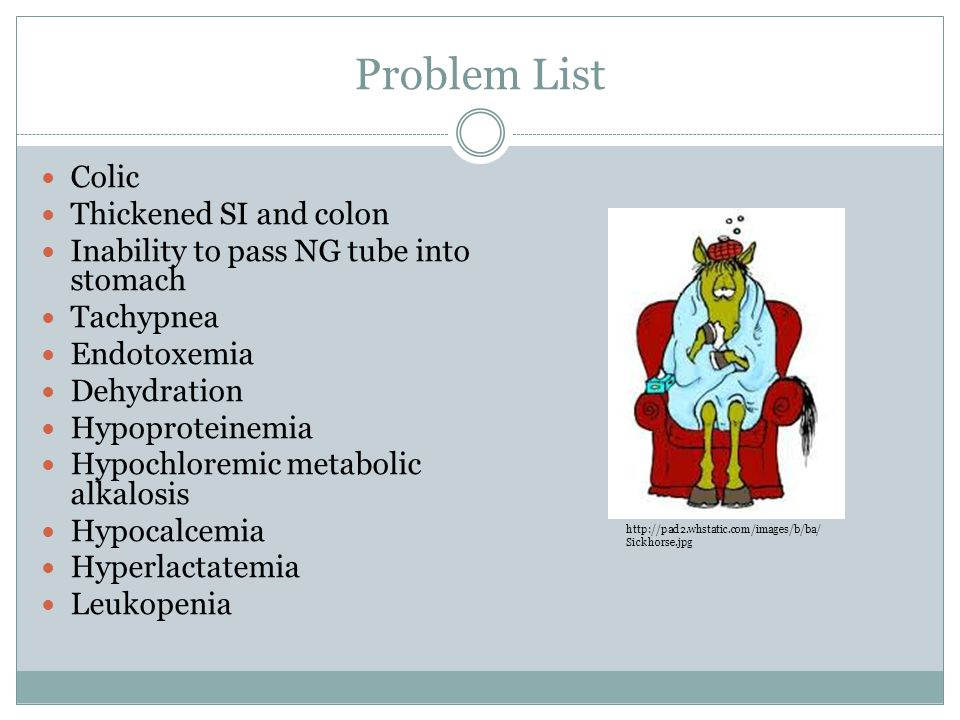 Problem List Colic Thickened SI and colon