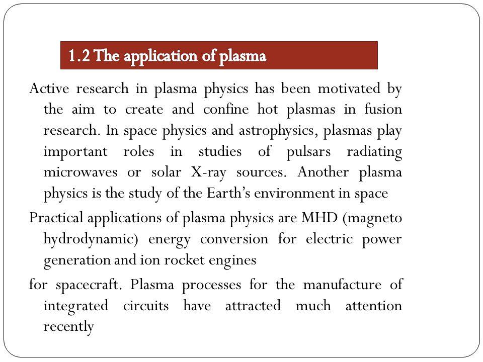 1.2 The application of plasma