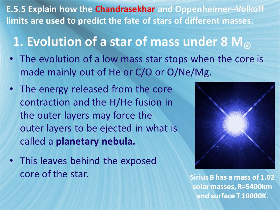 1. Evolution of a star of mass under 8 M