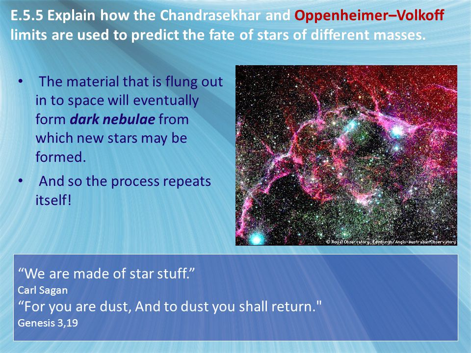 E5 - Stellar Evolution E.5.5 Explain how the Chandrasekhar and Oppenheimer–Volkoff limits are used to predict the fate of stars of different masses.