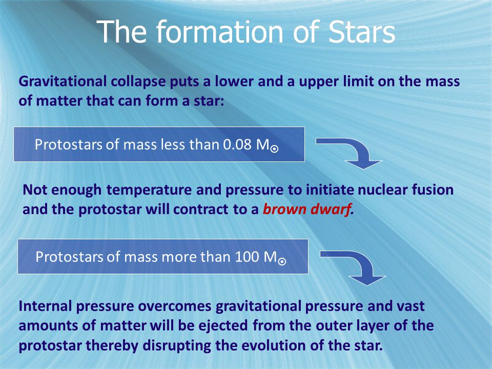 The formation of Stars Gravitational collapse puts a lower and a upper limit on the mass of matter that can form a star: