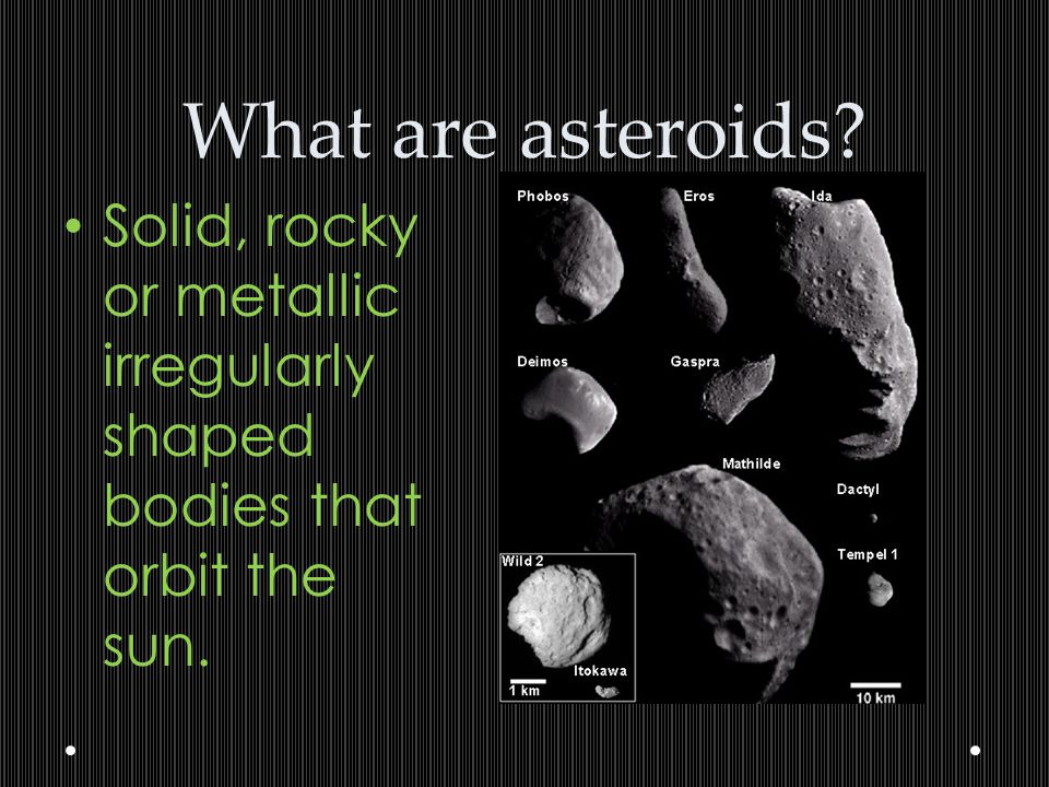 What are asteroids Solid, rocky or metallic irregularly shaped bodies that orbit the sun.
