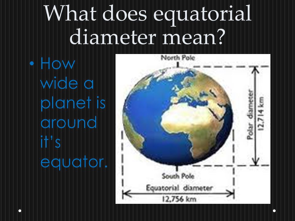 What does equatorial diameter mean