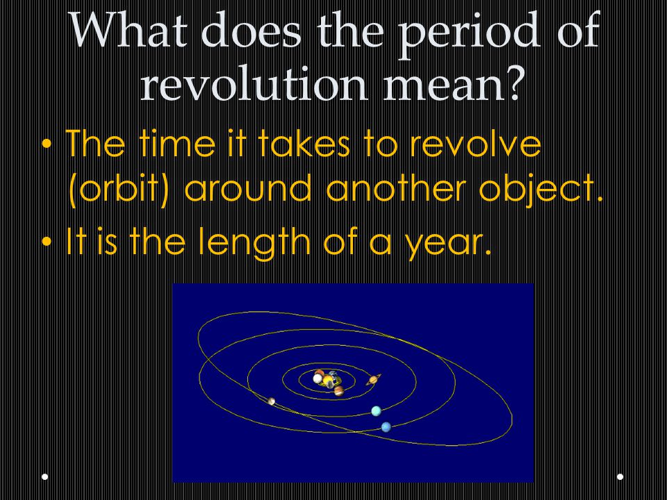 What does the period of revolution mean