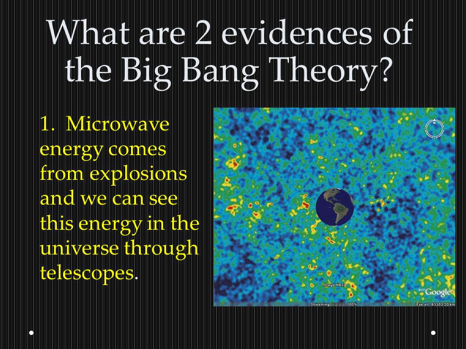 What are 2 evidences of the Big Bang Theory