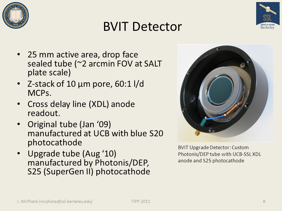 BVIT Detector 25 mm active area, drop face sealed tube (~2 arcmin FOV at SALT plate scale) Z-stack of 10 µm pore, 60:1 l/d MCPs.