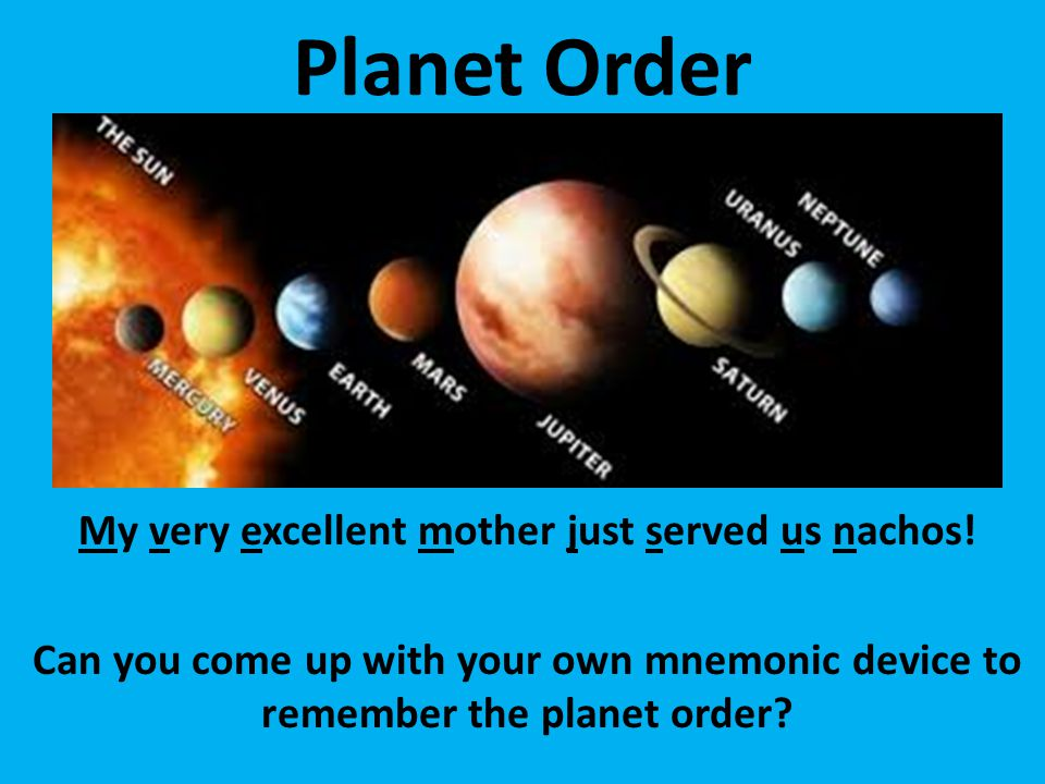 Planet Order My very excellent mother just served us nachos.