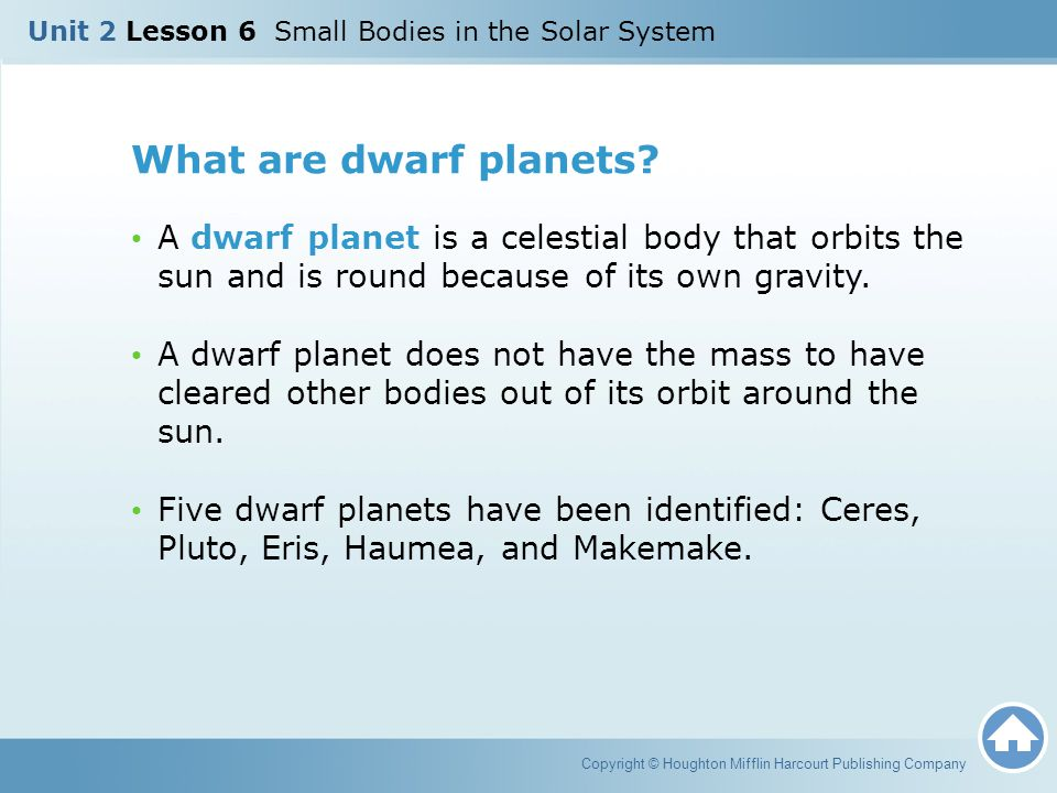 Unit 2 Lesson 6 Small Bodies in the Solar System