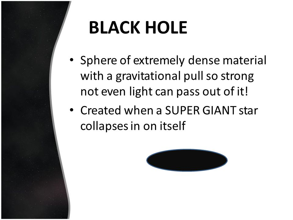 BLACK HOLE Sphere of extremely dense material with a gravitational pull so strong not even light can pass out of it!
