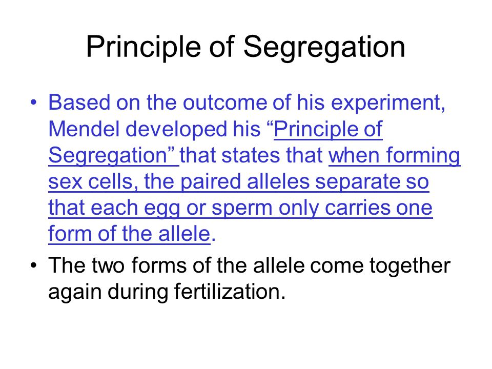 Principle of Segregation