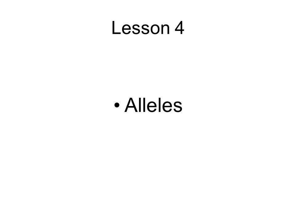 Lesson 4 Alleles