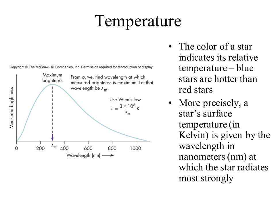 Temperature The color of a star indicates its relative temperature – blue stars are hotter than red stars.