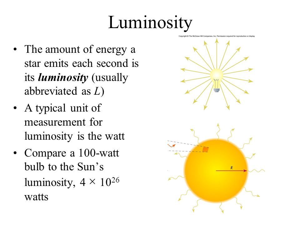 Luminosity The amount of energy a star emits each second is its luminosity (usually abbreviated as L)