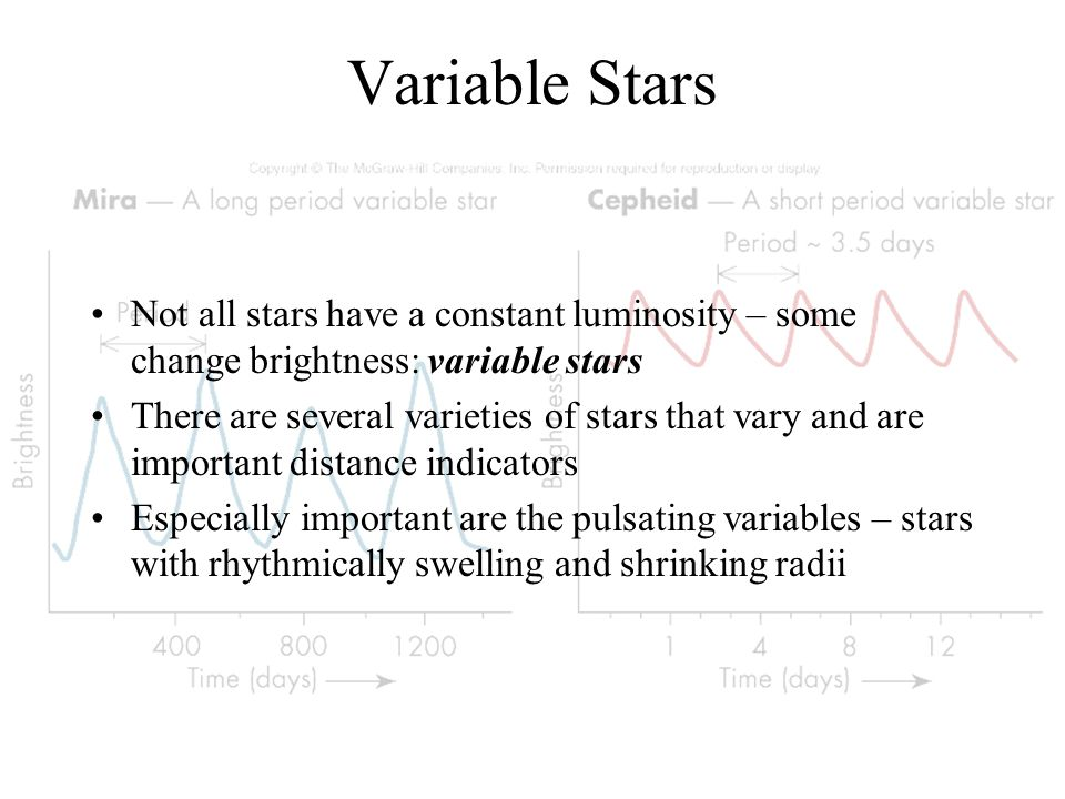 Variable Stars Not all stars have a constant luminosity – some change brightness: variable stars.