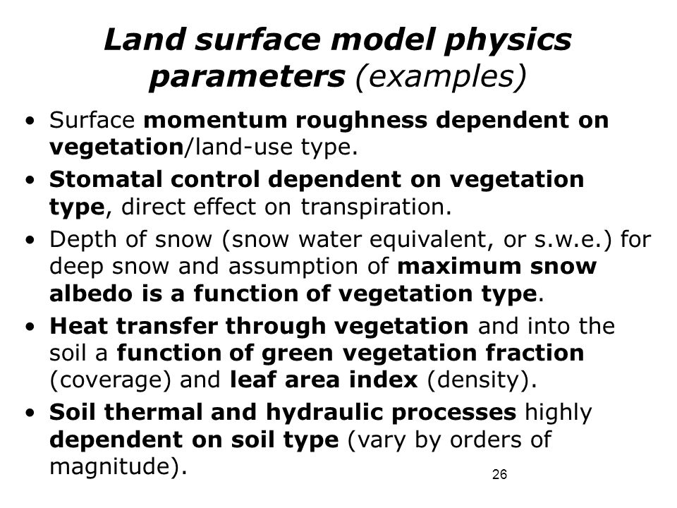 Land surface model physics parameters (examples)