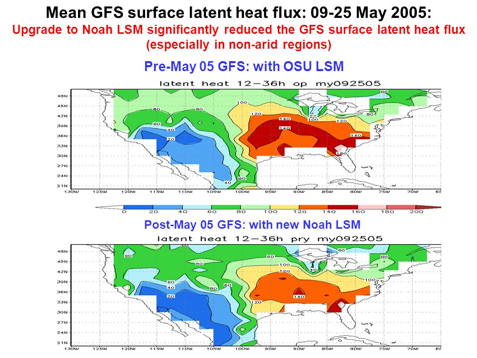 Mean GFS surface latent heat flux: 09-25 May 2005: