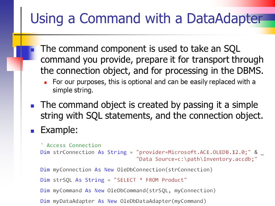 Using a Command with a DataAdapter
