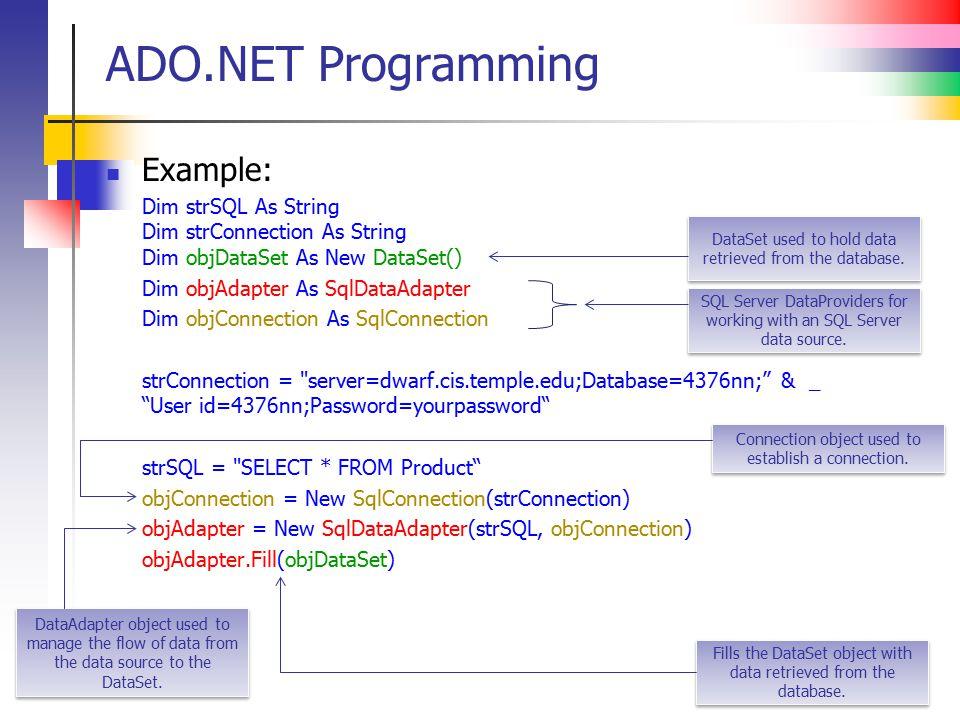 ADO.NET Programming Example: