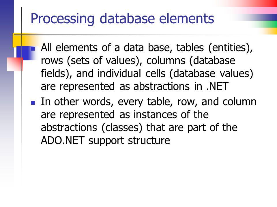 Processing database elements