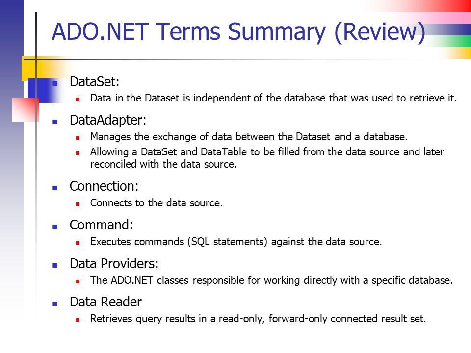 ADO.NET Terms Summary (Review)