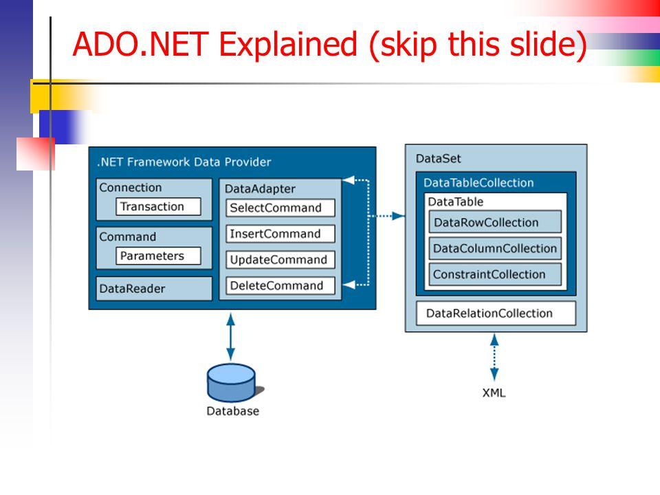 ADO.NET Explained (skip this slide)