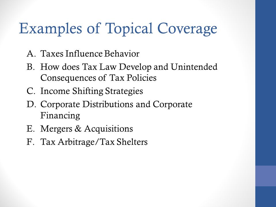 Examples of Topical Coverage